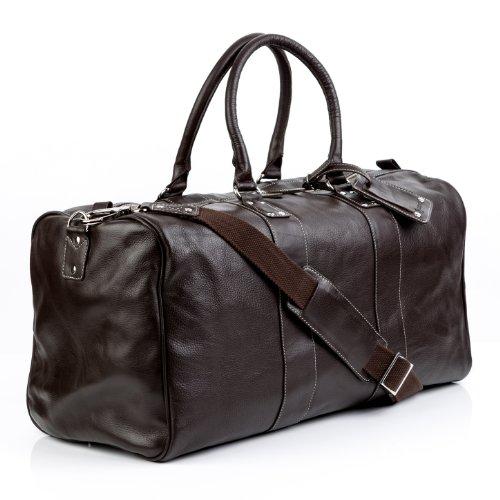 BACCINI Reisetasche TOBY - Weekender XL - Sporttasche mit praktischem Gepäckanhänger - echt Leder schwarz braun