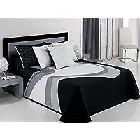 Textilhome Colcha Capa VANYA - Cama 135cm. Color Negro