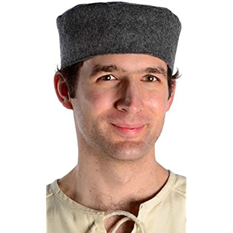 Feltro di lana foderato cappuccio età media nero rosso marrone (Cappuccio Foderato Hat)