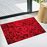 Huaduo 3D Romantische Rote Rose Blumen PVC Wasserdichte Bodenaufkleber Wohnzimmer Schlafzimmer Badezimmer Pflanzen Verschönerung Dekor Posters45X60cm