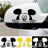 stickers muraux blanc arbre 1 paire Mickey Mouse voiture sur la voiture autocollant de rétroviseur autocollant réfléchissant autocollant de voiture