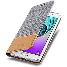 Cadorabo - Etui Housse pour Samsung Galaxy A3 (6) (Modèle 2016) - Coque Case Cover Bumper Portefeuille en Design Tissue-Similicuir avec Stand Horizontale, Fentes pour Cartes et Fermeture Magnétique Invisible en GRIS-CLAIR-MARRON