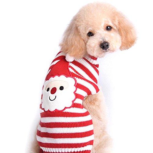 YiZYiF Hunde Bekleidung Weihnachtsmann Rentier Cosplay Kostüm Overalls Mantel Kleidung Sweater Schlafanzüge Santa Claus L (Brust 46-72cm) (Besten Sein Und Ihre Halloween Kostüme)