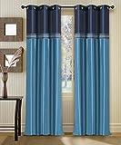 Deco Window Curtain Tripti Turquoise Nav...