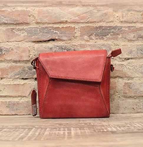 Nouveau sac à main vintage originale d'une main d'en-tête de couche diagonale épaule cuir art petit emballage Red