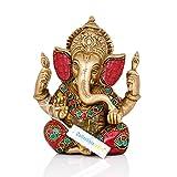 "Collectible India 5.5"" Lord Ganesha Brass Statue | Hindu God Ganesh Ganpati Sitting Idol Sculpture"