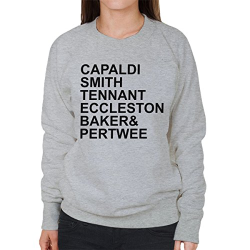 Doctor Who Actor List Women's Sweatshirt Heather Grey