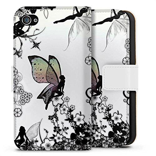 Apple iPhone SE Silikon Hülle Case Schutzhülle Elfe Fee Schmetterling Sideflip Tasche weiß