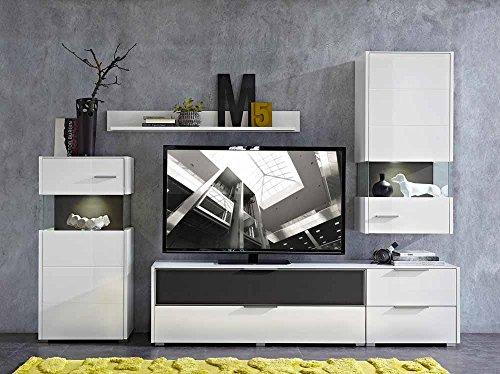 5-tlg Wohnwand in Hochglanz weiß/grau mit Akustik-Fächern und LED-Beleuchtung, Gesamtmaß B/H/T ca. 280/207/51 cm