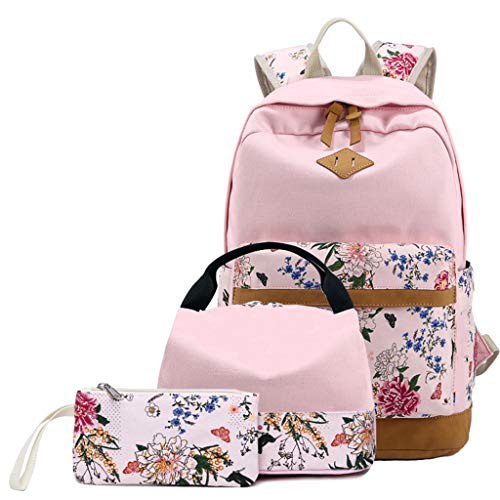 catyrre 3PCS Floral Canvas School Bags Rucksack Laptop-Buchtaschen mit Lunch-Box-Bag-Bagft-Penstift-Case Set