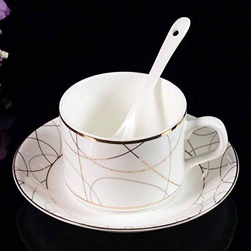 SSBY Tasse à café haut de gamme situé, lot de tasses café porcelaine de 3, tasses à café en céramique et soucoupes , A