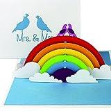 """3D Hochzeitskarte """"Lesbian Wedding - Birds in Love"""" - Pop Up Karte """"Mrs. & Mrs."""" als Einladungskarte, Einladung & Geschenk zur lesbischen Hochzeit"""