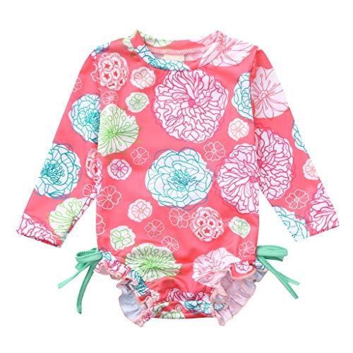 Heetey Mädchen-Schwimmkostüm, Kleinkind Baby Mädchen Kinder Langarm Floral Plissee Einteilige Badeanzug Bademode Floral Bedruckte Bikini Badeanzug Strandkostüm Backless Beachwear