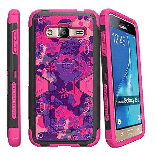 turtlearmor   Samsung Galaxy J3Fall   AMP Prime   Express Prime [Clip Caliber] High Impact stoßfest Silikon Armor Schutzhülle Ständer Holster Gürtelclip Rosa Designs -, Pink Purple Flowers
