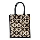 #4: H&B Jute Lunch bag (Pattern 1,black, Size: 11x9x6 inches )