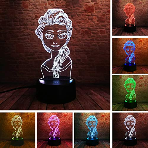 Prinzessin Königin Elsa 7 Farbe Emotion Mädchen Schlafzimmer Schlaf Dekoration Nachtlichter Freund Kind Kind Familie Geburtstag Weihnachten Spielzeug Geschenk (Schlafzimmer-sets Königin)