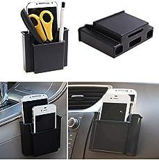 Luvina Multifunctional Mini Car Cell Phone Holder Black Mobile Phone Charge Box Holder Pocket Organizer Car Seat Bag Storage 2 pcs(Black)