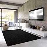 Shaggy de alfombra | chal de pelo largo para salón, dormitorio o habitación | einfarbig sustancias nocivas, apto para alérgicos, negro, 040 x 060 cm