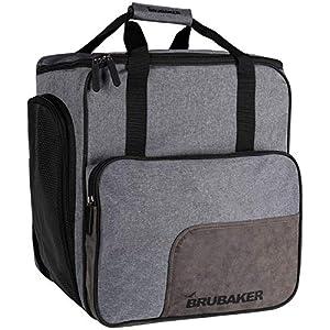 Brubaker Super Performance Skischuhtasche Helmtasche Rucksack mit Schuhfach – Grau meliert Schwarz