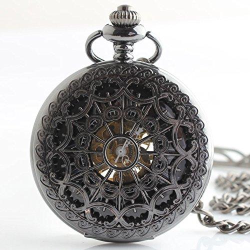 lekima Taschenuhr Taschenuhr Halskette Anhänger Elegant Skelett Hohl römischen Zahl gestreift Mechanische Legierung Fantasie Herren Damen Geschenk