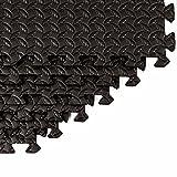 Schutzmatten Set von #DoYourFitness – 6x Puzzle Unterlegmatten für sicheren Bodenschutz für Sportgeräte, Gymnastikräume, Keller – Matten Schutz vor Kratzern, Stößen, Dellen, Kälte, Lärm, Flüssigkeit ! 6 Steckelementen á 60 x 60 x 1,2 cm (ca. 2,2m²) / In verschiedenen Farben erhältlich / Schwarz - 3