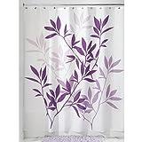 InterDesign Leaves Duschvorhang | Designer Duschvorhang in der Größe 183,0 cm x 183,0 cm | schickes Duschvorhang Motiv mit Blättern | Polyester violett