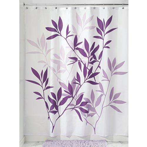 InterDesign Leaves Duschvorhang | Designer Duschvorhang in der Größe 183,0 cm x 183,0 cm | schickes Duschvorhang Motiv mit Blättern | Polyester - Lila Duschvorhang