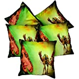 5pcs Multicolor Silk Pillow Covers Indian Traditional Women Digital Print Sofa Cushion Covers