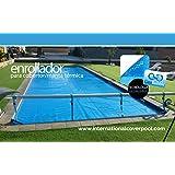 Cableyoyos pour piscines (Couverture thermique ou couvre-lit solaire) de Max 4,2mètres télescopique en acier inoxydable et aluminium (réducteur d'effort)