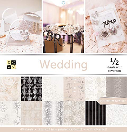 DCWV WEDDING Premium Stack 48 Sheets of 12 x 12 Printed Cardstock Scrapbooking - 12x12 Scrapbooking Cardstock