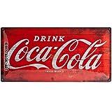 Nostalgic-Art Coca Cola Logo Red Placa Decorativa, Metal, Rojo y Blanco, 25 x 50 cm