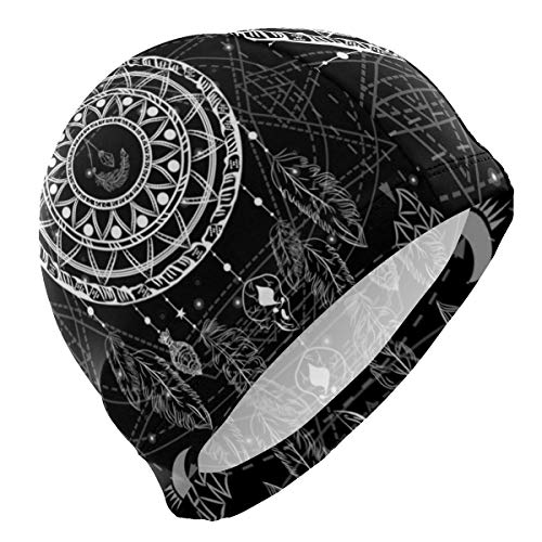 Gebrb Gorro de Baño/Gorro de Natacion, Swim Cap Mandala Dreamcatcher Swimming Hat Cover Ears No-Slip Bathing Cap for Men