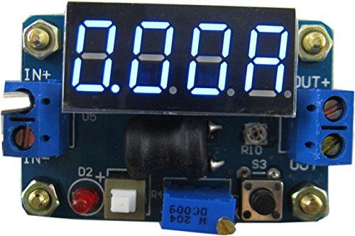 Yeeco DC DC secchio Converter Stabilizzatore 4.5-24V a 1V-20V Regolabile Step-down Alimentazione Elettrica Modulo Voltaggio Regolatore con Blu Voltometro Amperometro