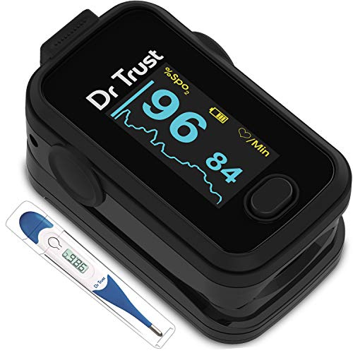 Dr Trust (Usa) Signature Series Finger Tip Pulse Oximeter With Audio Visual Alarm ( Midnight Black )