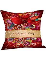 "hmlai feliz día de San Valentín fundas de almohada de lino sofá almohada decoración para el hogar, 18""x18"", E"
