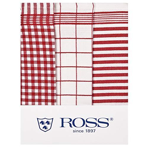 3er Pack Baumwoll - Geschirrtücher Größe 50 x 70 cm in 6 verschiedenen Farben (rot) (Baumwoll-geschirrtücher Rot)