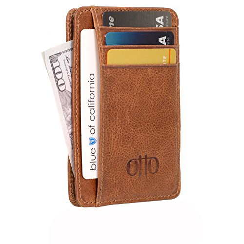 OTTO Dünn Echtes Leder Kartenhalter Brieftasche für Männer - Mehrere Schlitze für Kredit, Lastschrift, Bank und Business-Karten, RFID-BLOCKEN (Braun) (Schlüssel Volcom)