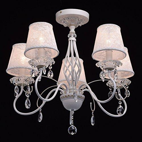 Eleganter Kronleuchter Metall weiße Stoffschirme 5 flammig Kristall klar - 4