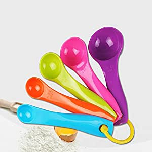 Generic Multi : 5pcs/set Colorful Eco-Friendly Plastic Kitchen Measuring Spoons for Baking Cooking Salt Yeast Powder Measure