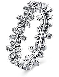 Elensan a forma di fiore in argento Sterling 925 anelli con CZ matrimonio romantico anello dazzling Daisy chain signore e ragazze Love Anel