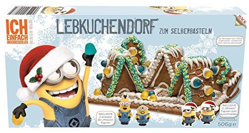 Lebkuchenhaus Bastelset mit 2 Minion 2D Figuren Minions