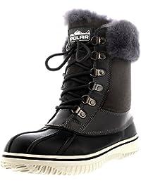 Polar Mujer Genuina Piel De Oveja Australiana Cuff Invierno Nieve Impermeable Zapatos Botas