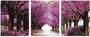 Wowdecor kit dipingere con i numeri per adulti bambini Junior principianti per anziani, dipinto di numeri set di 3pezzi Set–Romantic Purple Trees Avenue 16x 20x P cm Framed
