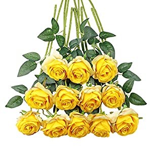 Tifuly 12 STÜCKE Künstliche Rosen, 19,68'' Single Stem Gefälschte Rose Silk Brautstrauß, Realistische Blütenblume für Home Garden Party Hotel Büro Decor(Gelb)
