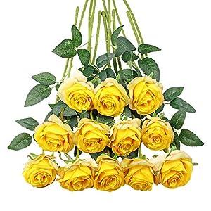 Tifuly 12 PCS Rosas Artificiales, Realista Largo Tallo Falso Rosa Seda Nupcial Ramo de Novia Flor para Home Garden Party…