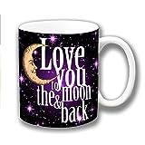 Liebe Dich zu den Moon & Back Schwarz Lila Keramik Kaffee Tasse Weihnachtsgeschenk Strumpf Füller