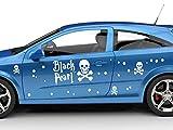 Graz Design Autoaufkleber Sticker Aufkleber Set für Auto Schriftzug Black Pearl Totenköpfe (100x57cm//010 weiß)