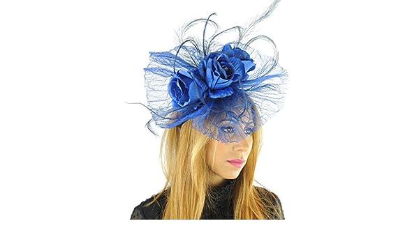 Colore  Nero con fiori di seta e cerchietto con cappello per Ascot Derby con  fascia per la testa  Amazon.it  Abbigliamento 26cbce87a4d7