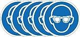 Internationaler Sicherheitsaufkleber für ISO-Augenschutz, erforderliches Symbol, selbstklebend,50mm Durchmesser (5Stück)
