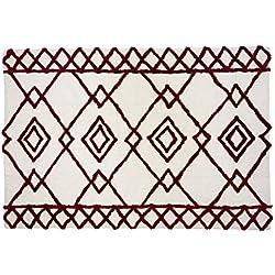 Aratextil. Alfombra Infantil 100% Algodón lavable en lavadora Colección Bereber Fez Burgundy 140x200 cms